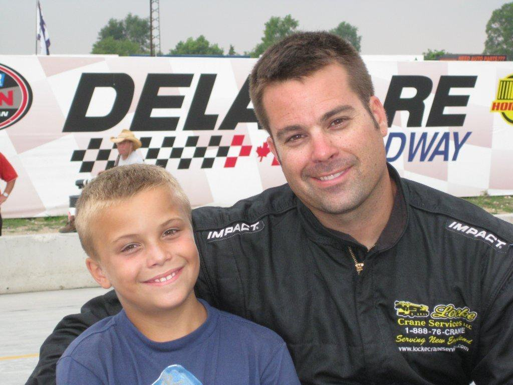 Jeff Locke with Ryan Locke - 1st Place finish at Delaware Speedway